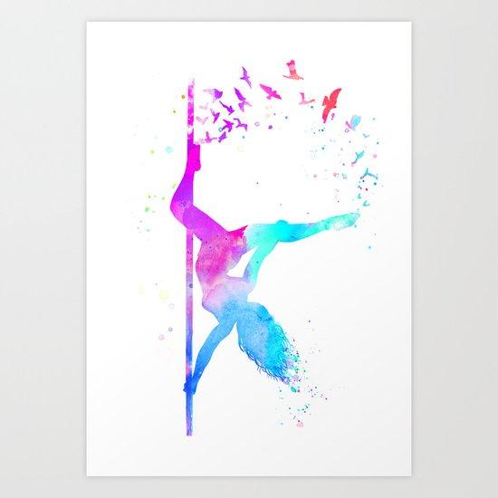 watercolor pole dance  by zhivechkova_art