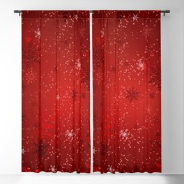 Red Background with Gold Snowflakes Blackout Curtain