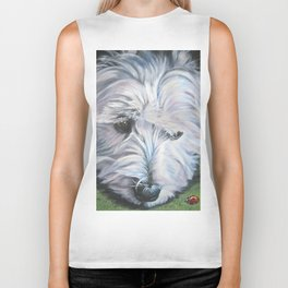 West Highland Terrier dog art portrait from an original painting by L.A.Shepard Biker Tank