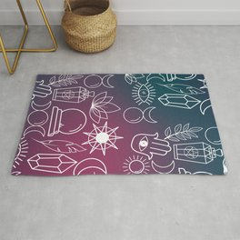 Magical Wiccan Tools on a Gradient Background Rug