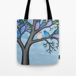 indigo buntings in the stained glass tree Tote Bag