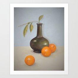 Oranges and Vase Art Print