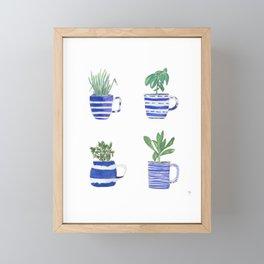 Blue stripes and herbs quartet Framed Mini Art Print
