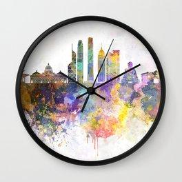 Hong Kong V2 skyline in watercolor background Wall Clock
