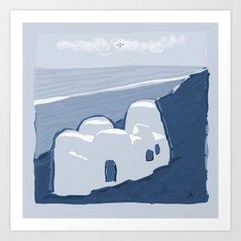 Labyrinth on the Shore, Sketch, Cyanotype Art Print