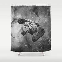 falcon Shower Curtains featuring Millennium Falcon by foreverwars