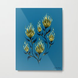 Fire Flower - Blue Gold Metal Print