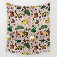 kaiju Wall Tapestries featuring Baby Kaiju Pink by TheBleepBloopShop