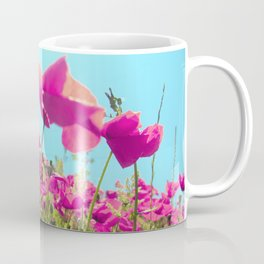 Pink Poppies Poppin' Neath the Bright Blue Sky Coffee Mug