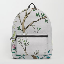 Chinoiserie Panels 1-2 Silver Gray Raw Silk - Casart Scenoiserie Collection Backpack