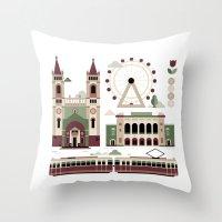 vienna Throw Pillows featuring Vienna / Wien by koivo
