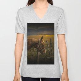 Saddle Horse on the Prairie Unisex V-Neck