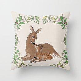Deer in Forest Wreath Throw Pillow