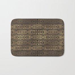 Golden Celtic Pattern on wooden texture Bath Mat