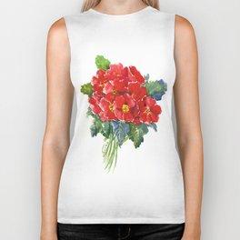 Red Flowers, Primula, red floral design Biker Tank