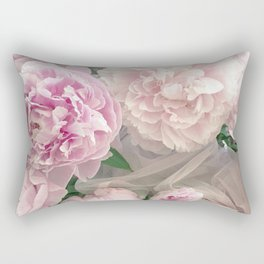 Shabby Chic Pastel Pink Peonies Wall Art - Peonies Home Decor Rectangular Pillow