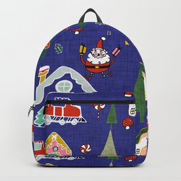 Santa Claus Blue #Christmas #Holiday Backpack