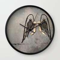 angel wings Wall Clocks featuring Wings by Donna M Condida