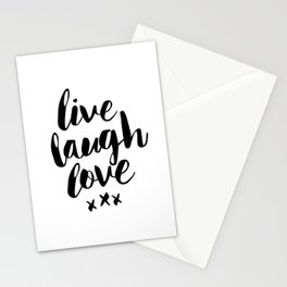 Live Laugh Love black and white wall hangings typography design home wall decor bedroom Stationery Cards