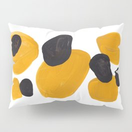 Mid Century Abstract Black & Yellow Fun Pattern Floating Mustard Bubbles Cheetah Print Pillow Sham