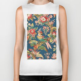 Antique French Chinoiserie in Blue Biker Tank