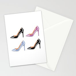 High heel shoes in black, serenity blue and bodacious pink Stationery Cards