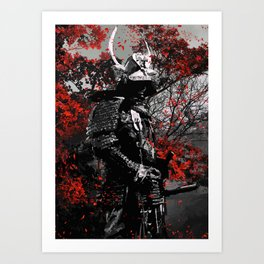 Samurai Red Flower Art Print