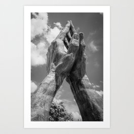 Oral Roberts University Praying Hands - Tulsa Oklahoma - Monochrome Edition Art Print