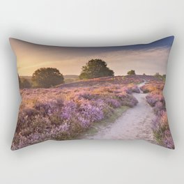 I - Path through blooming heather at sunrise, Posbank, The Netherlands Rectangular Pillow