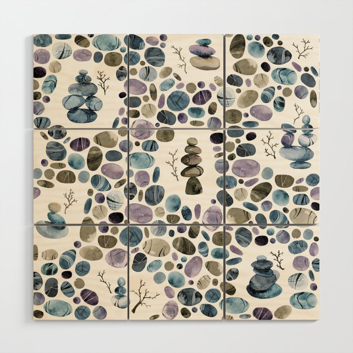 Wishing stones and cairns Wood Wall Art