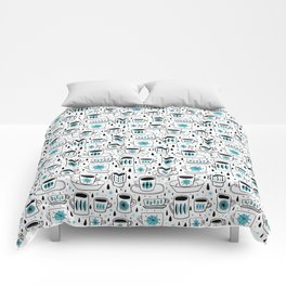 Retro coffee cups teal Comforters