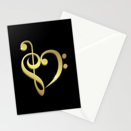 Treble clef, bass clef music heart love Stationery Cards