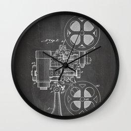 Film Projector Patent - Cinema Art - Black Chalkboard Wall Clock