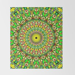 Floral Sun Garden Mandala Throw Blanket