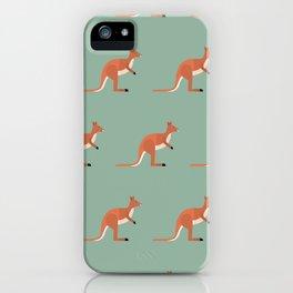 Kangaroos on green iPhone Case