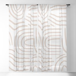 Abstract line pattern blush pink Sheer Curtain