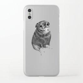 Sweet Black Pug Clear iPhone Case