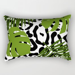 Leopard and palm leaves seamless pattern. Rectangular Pillow