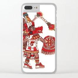 Dancing Aztec shaman warrior Clear iPhone Case