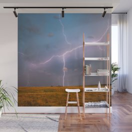 Electric Sky - Lightning Spans Entire Sky in Southern Oklahoma Wall Mural
