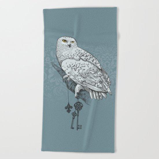 Secrets of the Snowy Owl Beach Towel