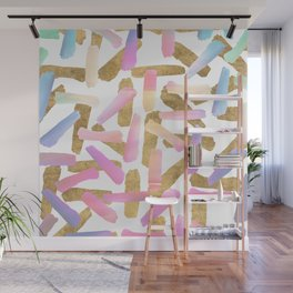 Modern pink lavender teal gold watercolor brushstrokes Wall Mural