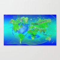 world map Canvas Prints featuring World Map by Roger Wedegis
