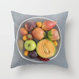 Fruits on a plate Throw Pillow