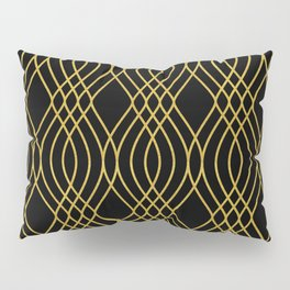 "'French Champagne On Ice"" - Gold Art Deco Pattern Pillow Sham"