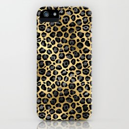 black gold leopard pattern luxury luxurious  iPhone Case