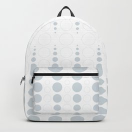Up and down polka dot pattern in white and a pale icy gray Backpack
