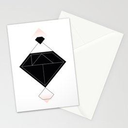 Tangram Diamond Linework Black Stationery Cards