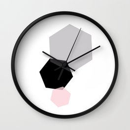 Black Grey Pink Geometric Hexagon Wall Clock