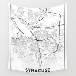 Minimal City Maps - Map Of Syracuse, New York, United States Wall Tapestry